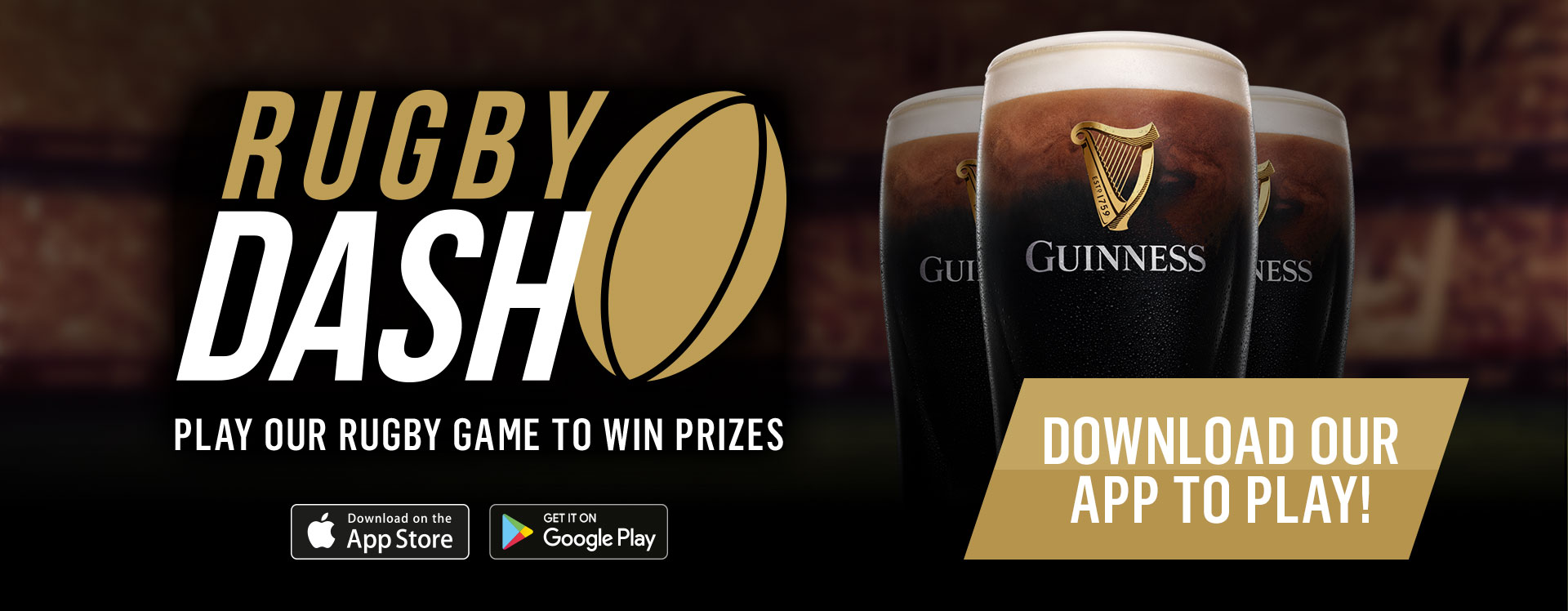 Rugby Dash Game - Win a free pint of Guinness with 6 Nations at Nicholson's