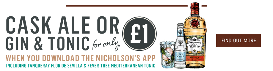 Cask ale or gin & tonic for only £1