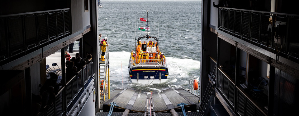 RNLI boat going out to see