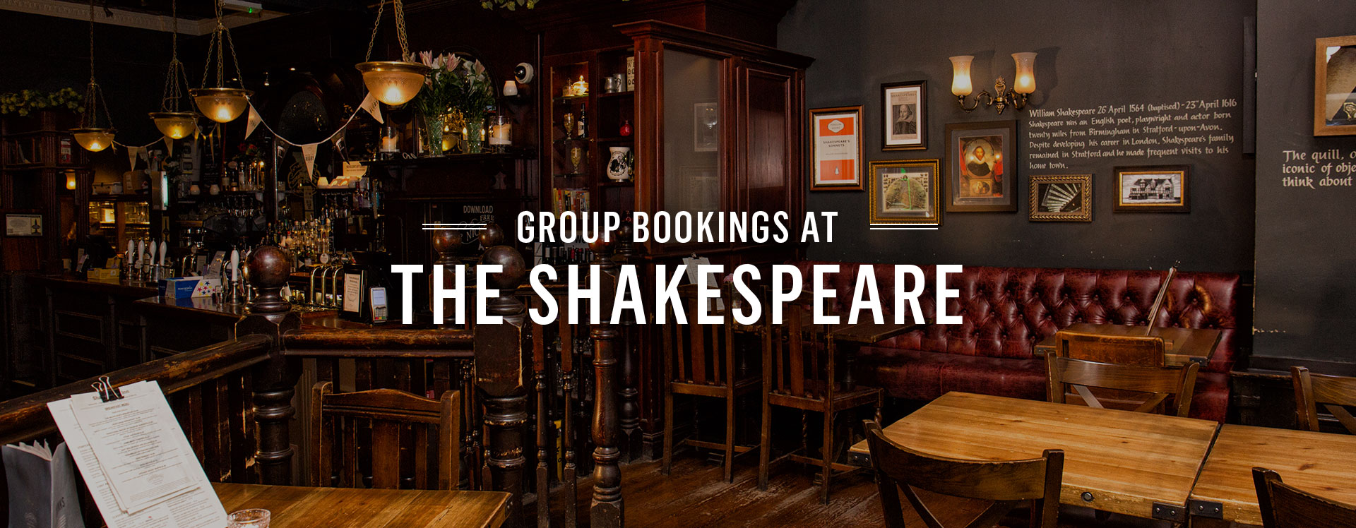 Group Bookings at The Shakespeare